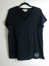 MICHAEL KORS WOMENS MK TOP 1X PLUS SHIRT TEE TUNIC BLACK Studded logo