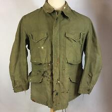 Vtg Distressed 50's Korean War Coat Jacket Parka US Army Military M-65 Sateen