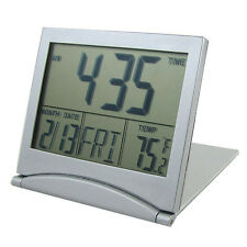 Silver Foldable Battery Desktop Calendar Temperature Digital Alarm Clock DI