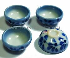 Set of 4 Dollhouse Miniature Ceramic Blue Bowls * Doll Mini Food Dish Kitchen