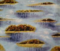 Duck Lake BTY Hautman Quilting Treasures Blue Water Grasses 100% Cotton