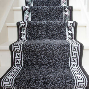 Traditional Black Bordered Stair Carpet Stairs Hallway Carpet Rug Sold in Feet