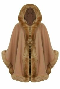 Womens Celebrity Inspired Poncho Ladies  Faux Fur Trim Hooded Winter Cape  Coat