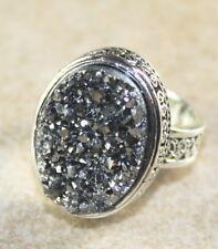 SILVER Vintage Style Silver Gray Grey Rainbow Titanium Druzy 15x20mm Ring Size 8
