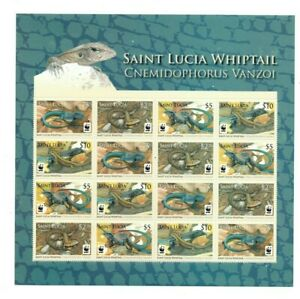 SPECIAL LOT WWF St. Lucia 2008 - Lizard - 5 Sheets of 16 - MNH