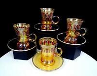 "A CASA K ITALIAN IRIDESCENT GLASS 4 MOROCCAN STYLE 3 1/8"" DEMITASSE TEA CUPS"