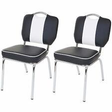 2x Esszimmerstuhl Avellino, Stuhl Lehnstuhl, Retro Design schwarz-weiß