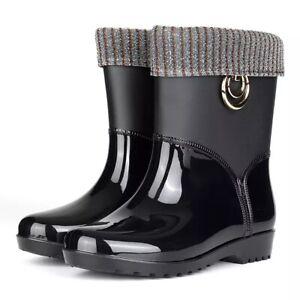 Punk Style Mid-Calf Rain Boots Women Rubber Winter Warm Snow NonSlip Adults Shoe