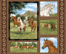 "1 Fabric Panel - Run Free Horses Cushions/Quilt Fabric Panel 36"" x 44"" - 125-106"