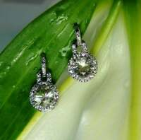Delicated 2Ct Round Cut Moissanite Drop & Dangle Earrings 18K White Gold Finish