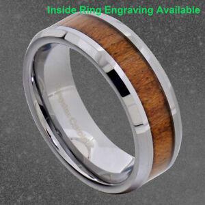 8mm Tungsten Brown Wood Inlay Bevel Edge Men's Wedding Ring Band