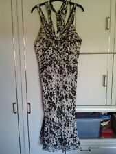 COAST Long/Strappy Dress : Cream/Black/Red : 100% Silk : Size 18