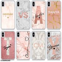 NAME INITIALS PERSONALISED MARBLE PHONE CASE HARD PLASTIC COVER FOR APPLE IPHONE
