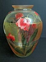 Gipar Signed Italian Hand Painted Vase Blown Glass