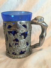 Heavy Vintage Asian (India) Art Deco Nude Naked Lady Handle Metal And Blue Glass