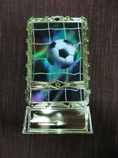 Soccer ball and net insert trophy weighted gold holder