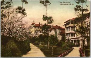 "1928 PINEHURST North Carolina HAND-COLORED Postcard ""The Carolina"" w/ Cancel"