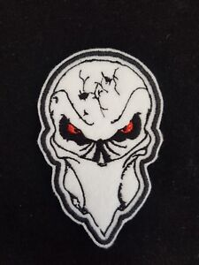 Biker Skull Evil Eyes Embroidered Patch Badge Iron on or Sew on.