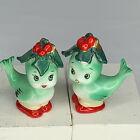 Vintage Lefton Japan Christmas Birds Holly Berry Bows Salt & Pepper Shakers Rare