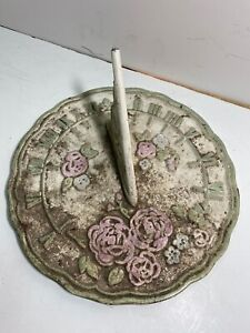 Vintage CAST IRON Pearcraft Metalcrafted Floral Sun Dial U.S.A