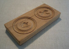 Vintage Wooden Springerle Cookie Mold Stamp Bird & Flower