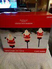 Ashland Christmas Lighted Santa Path Markers - NIB