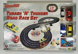 "Vintage SpeedTrax Battery Operated ""Thrash N' Thunder"" Road Race Set  Slot Cars"
