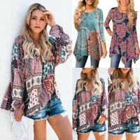 Women's Boho Floral Crew Neck Long Sleeve Shirts Ladies Loose Casual Tops Blouse