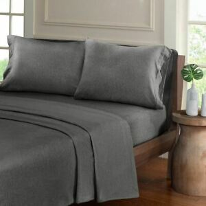 Luxury Charcoal Grey Heathered Cotton Jersey Knit Sheet Set - ALL SIZES
