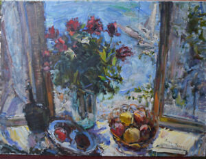 Original Russian oil canvas USSR   impressionism Painting  2002 9