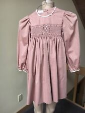 Handmade Smocked Dress Girls Sz 7or 8? Tan Check Long Sleeve