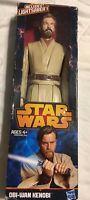 Star Wars Clone Wars Obi-Wan Kenobi 2012 Hasbro With Light Saber & Box!!