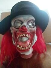 Halloween Latex Scary Mask W/ Red Hair & Black Hat