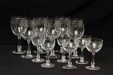 Red White Champagne Wine Etched Glass Clear Crystal Beveled Stem set 12 lot