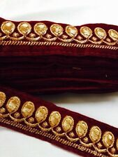 ATTRACTIVE INDIAN LEAF EMBROIDERY LACE TRIM ON VELVET SLIM (MAROON)SOLD BY METRE