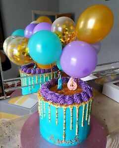 BALLOON CAKE TOPPER GARLAND BIRTHDAY PARTY ALADDIN PURPLE GOLD PRINCESS JASMINE