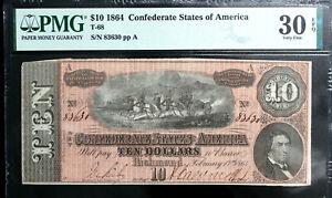 T-68 1864 $10 Ten Dollar CSA Confederate Note  PMG 30 EPQ  VERY FINE  PF31