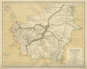 DUTCH EAST INDIES Indonesia BORNEO Kalimantan Sarawak DORNSEIFFEN 1902 old map