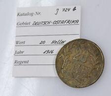 20 Heller 1916 Tabora DOA Deutsch-Ostafrika J. 724b Messing