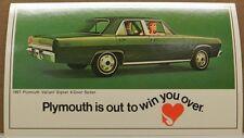 1967 67 PLYMOUTH HEART VALIANT SIGNET WIN MOPAR DEALER PROMO DEALERSHIP POSTCARD