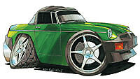 MG MGB Green Cartoon car t-shirt british motor bmc leyland available sizes S-3XL