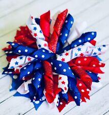 """3/"""" or 5"""" Navy\Red\White Houston Texans Korker Hair Bow Handmade"""
