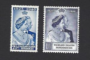 FALKLAND ISLAND DEPENDENCIES 1948, GEORGE V SILVER WEDDING, SG. G19-G20, MNH