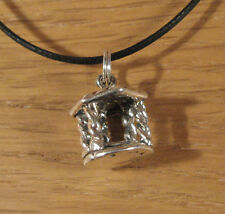 Gazebo Charm Pendant Necklace .925 Sterling Silver USA Made Garden Flowers Oasis