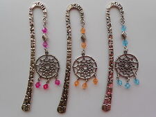 PEWTER DREAMCATCHER CHARM ORNATE FLOWER BICONE BEADS BOOKMARK - CHOOSE COLOUR