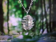 Claire païen de wicca cristal Quartz Silver Spiral collier chaine pendentif pierre précieuse