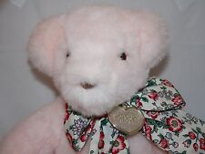 GUND VICTORIA'S SECRET Light Pink Teddy Bear Bow Tag Brown Eyes 1992 11 inches