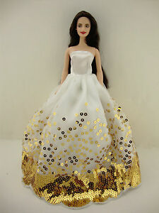 The Most Amazing White Dress with Lots of Gold Sequins Made to Fit the Barbie Do