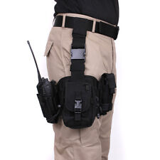 Rothco Drop Leg Thigh Utility Radio Torch Rig Holder Holster Pouch Set Black NEW
