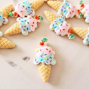 Pack of 10 Ice Cream Summer Flatbacks, Resins for Bow Making, Embellishments